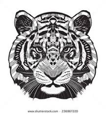 chinese tribal tattoo tiger tiger tattoo u2014 stock vector