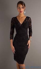 ju ma 269429 three quarter sleeve v neck knee length lace dress