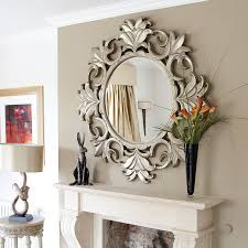 livingroom mirrors crested silver wooden wall mirror for living room