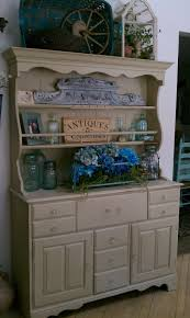 rock maple 2 pc hutch painted in annie sloan country grey fawn or