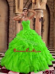 spring green ball gown sweetheart floor length ruffles organza