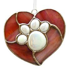 paw print stained glass ornament mungo works