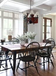 white farmhouse table black chairs southton traditional anthony baratta blue white ginger jars igf usa