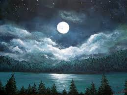 moon over water painting luminous lake by amy scholten