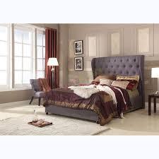 Bed Frames Au King Size Upholstered Grey Linen Fabric Bed Frame