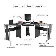 Black L Shaped Computer Desk Aosom Rakuten Homcom 69 Modern L Shaped Glass Top Office