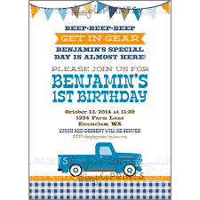 truck birthday party vintage blue truck birthday party invite dimple prints shop
