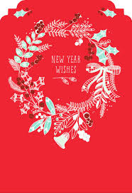 new year cards wreath new year card greeting cards hallmark