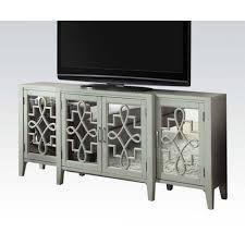 acme kacia antique gray console table