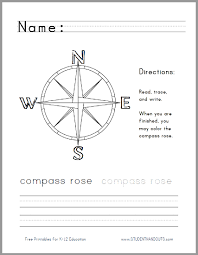 compass rose handwriting and coloring worksheet student handouts