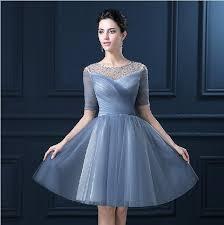 new illusion shoulder half sleeve short party dresses scoop neck