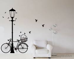 street lamp and bicycle wall decal bike sticker vinyl zoom