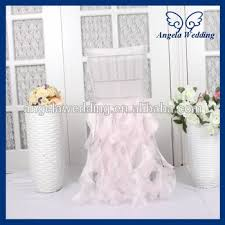 wedding chair covers for sale ch005h hot sale fancy organza ruffled curly willow light pink