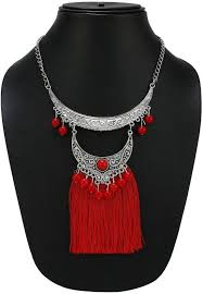 long red necklace images Nawab two layer long red boho afghani tassel necklace alloy jpeg