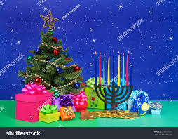 tree of menorah christmas tree presents next hanukkah menorah stock photo 510532531