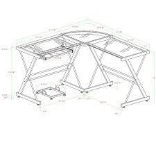 Desk Measurements Walker Edison 3 Piece Contemporary Glass And Steel Desk Silver
