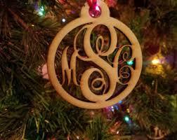 monogrammed ornament etsy