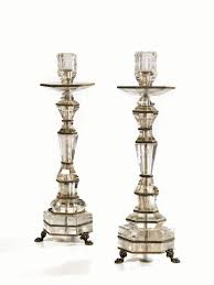 candelieri in cristallo coppia di candelieri in cristallo di rocca poggianti su tre