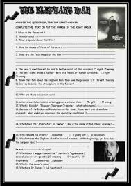 the elephant man david lych u0027s film review worksheet free esl