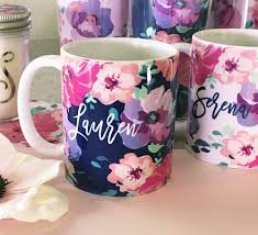 personalized floral coffee mugs