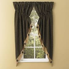 Country Curtains Sturbridge Plaid by Sturbridge Star Patch Gathered Swags Prairie Curtains Park Designs