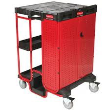 rubbermaid service cart with cabinet rubbermaid commercial products ladder cart with cabinet rcp9t58bla