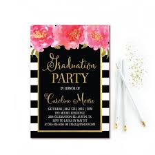 black white stripe graduation invitation floral graduation