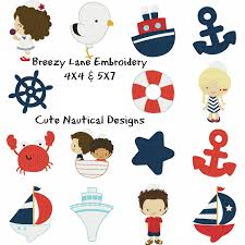 cute nautical 4x4 and 5x7 embroidery design set breezy lane