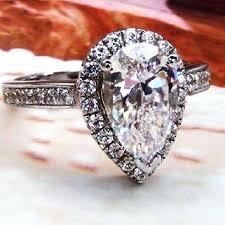 laboratory made diamond rings art deco 2 ct pear cut lab made