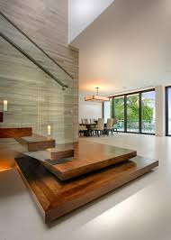 contemporary metal staircase wooden floating steps glass railing