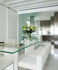 Glass Dining Table And Acrylic Chairs With Black  White Design - Glass dining room