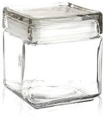 anchor hocking 1 quart stackable square glass storage jar