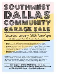 southwest dallas community garage sale flyer faith bible church