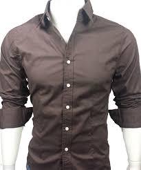 24 men s casual long sleeve plain dress shirt brown