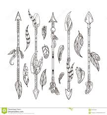 decorative arrows and feathers set in boho style indian