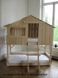 chambre enfant bois massif lit enfant superposé cabane en bois massif