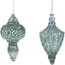 teal blue silver mercury glass antique ornament