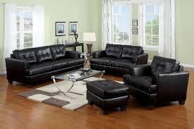 bonded leather living room 15090 black