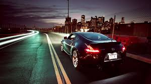 nissan 370z modified black black nissan 370z skyscrapers city lights hd wallpaper hd car