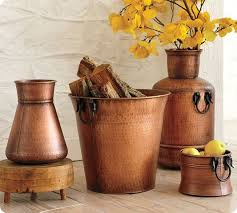 copper decor accents pottery barn beaten copper vessles image source twicelovely com