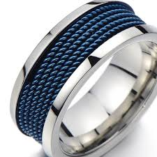 cool men rings images High fashion hot design cool men rings with blue steel mesh inlay jpg