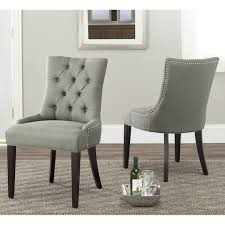 Safavieh En Vogue Dining Abby Grey Linen Nailhead Dining Chairs - Dining room chairs overstock