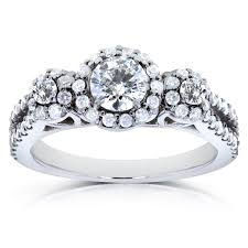 stone diamond halo engagement ring 1 ctw in14k white gold
