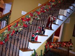 Banister Christmas Garland Decorating Outstanding Christmas Stairs Decoration Feature