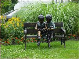 kids reading bench bronze outdoor children statue garden sculpture of two children