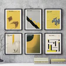 graphic design home decor mid century bauhaus home decor 6 piece wall art east german graphic
