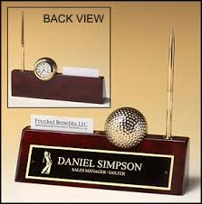 Desk Name Plates With Business Card Holder Personalized Golf Clock And Business Card Holder Kingcustom Net