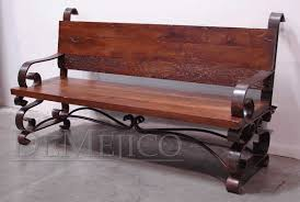 Wrought Iron Bench Seat Reclaimed Mesquite Bench Banca Espanola Demejico