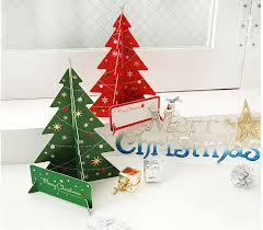 green creative tree card gift set 3d stand up