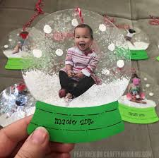 laminated photo snowglobe ornaments crafty morning